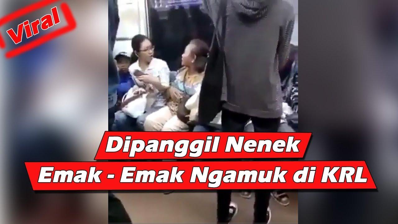 Emak emak marah di panggil nenek di KRL