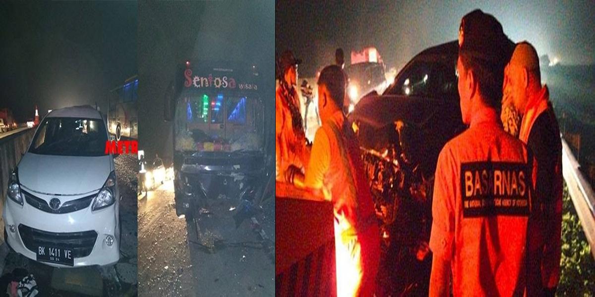 Dua kecelakaan beruntun yang melibatkan 6 unit mobil di KM 58+800 Jalan Tol Medan -Tebing Tinggi
